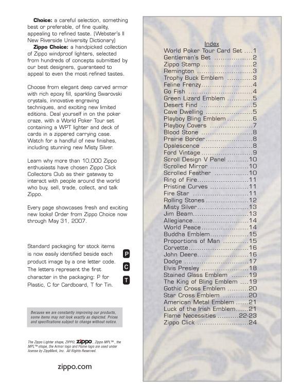 Catalogue ZIPPO 2006/07 Choice (version américaine) 00zippo2006_07choice